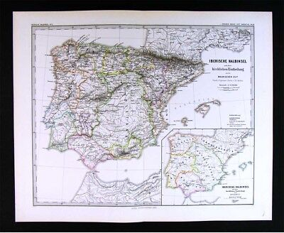1880 Spruner Map Iberia Spain Portugal after Expulsion of the Moors Granada