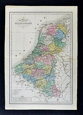1858 Delamarche Map Belgium & Holland Netherlands Luxembourg Amsterdam Brussels