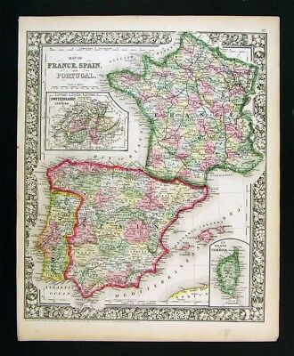 1865 Mitchell Map France Spain Portugal Corsica Lisbon Madrid Paris Europe