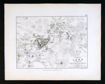 1855 Johnston Military Map - Napoleon Battle of Laon 1814  France Napoleonic War