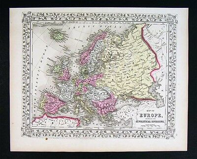 1867 Mitchell Map - Europe - Austria Italy Germany France Britain Spain Iceland
