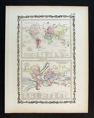 1862 Johnson Map - World Co-Tidal Lines Tides - Ocean Currents Gulf Stream