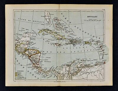 1885 Cortambert Map Antilles West Indies Cuba Puerto Rico Jamaica South America