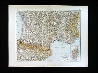 1900 Times Map South France French Riviera Marseilles Cannes Alps Spain Pyrenees