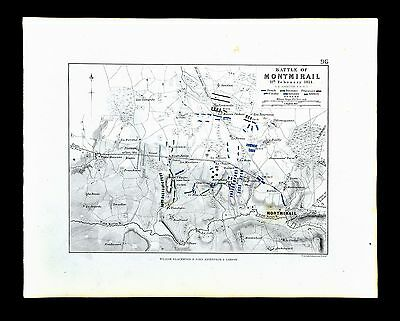 1855 Johnston Military Map Napoleon - Battle of Montmirail 1814 - France
