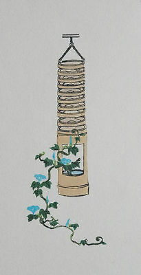 MORNING GLORY  - IKEBANA : ORIGINAL Old Japanese WOODBLOCK Print, Japan Art