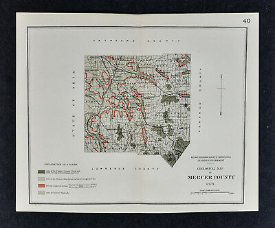 1878 Geological Map Mercer County Pennsylvania Lesley PA Geology Survey Sharon