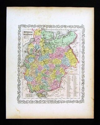 1857 Desilver Map Russia in Europe Estonia Latvia Finland Moscow St. Petersburg