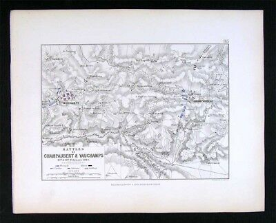 1855 Johnston Military Map Napoleon - Battle of Champaubert & Vauchamps - France