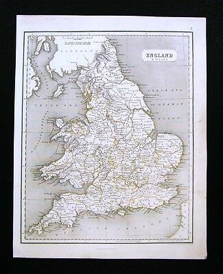 1844 Chambers Map - England Wales - London Liverpool Cardiff - Great Britain UK
