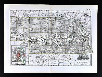 1898 Century Atlas Map Nebraska Omaha Kearney Lincoln City Columbus Grand Island