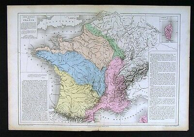1882 Drioux Map - Physical France Alps Riviera Corsica