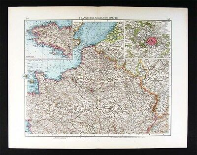 1896 Andrees Map North France Paris Plan Brittany Atlas