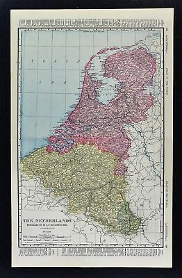1900 McNally Map - The Netherlands Belgium Luxembourg Holland Amsterdam Brussels
