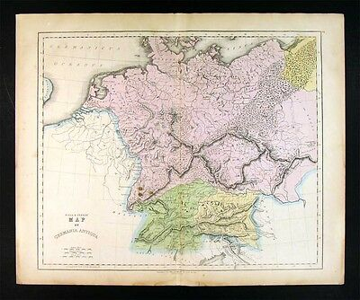 1859 Gall & Inglis Map Germania Ancient Germany Austria Bohemia Central Europe