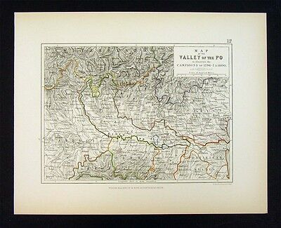1855 Alison Military Map - Napoleon Campaigns - Valley of the Po Italy Marengo