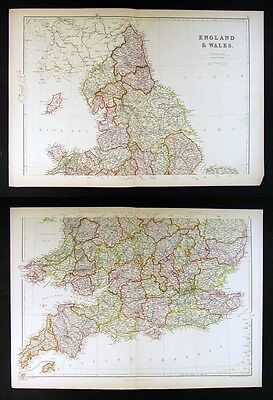 1882 Blackie Atlas Map x 2 - England & Wales North & South - London Liverpool
