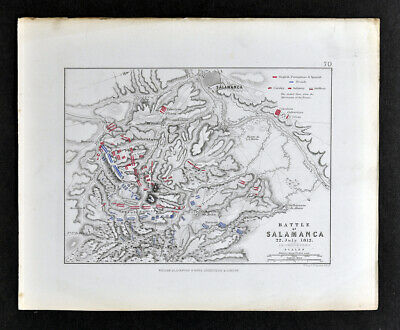 1855 Johnston Military Map  Napoleon Battle of Salamanca 1812 Spain Tormes River