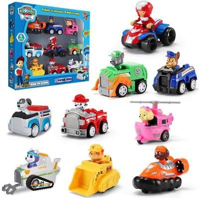 9PCS Racer Car Paw Patrol Dog Marshall Rubble Chase Everest Kids Toys Gifts Box