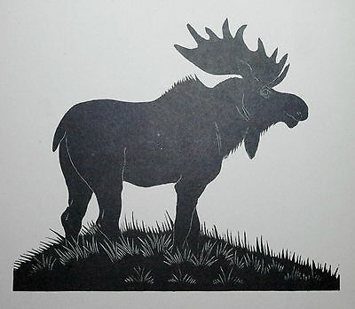 THE ELK, MOOSE : Old Art Deco Wild Animal Print of a 1920s Wood-cut By DAGLISH
