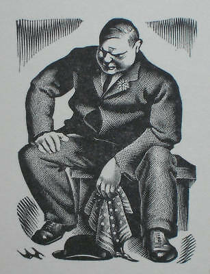 A SITTING MAN ; Old 1937 Print of a Woodcut / Woodblock By Agnes Miller-Parker