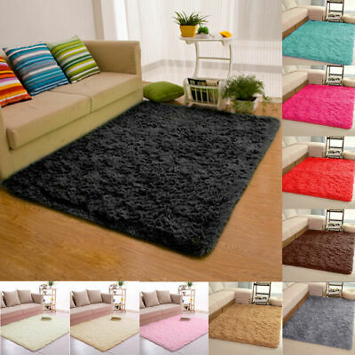 Fluffy Rugs Anti-Skid Shaggy Area Rug Dining Room Carpet Floor Mat Home Bedroom#