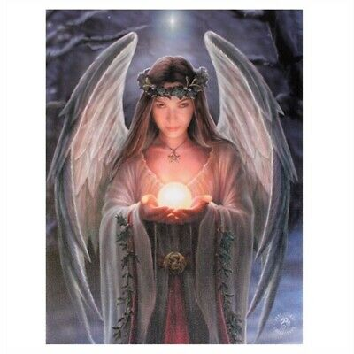Small Yule Angel Canvas Picture By Anne Stokes - Plaque Wall Hanging Spirit
