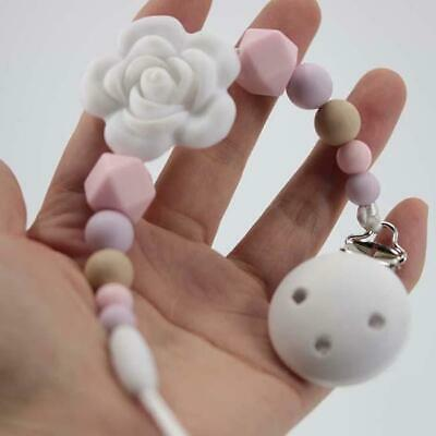Baby Dummy Clip Holder Pacifier Clips Soother Chains Silicone Bead Teething CZ