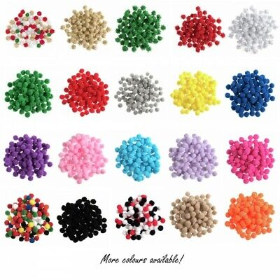 100 x 6mm Pom Poms Embellishments Craft Trimmings Accessories Trimits