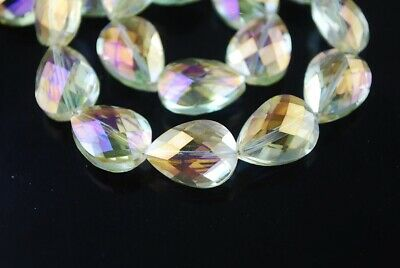10pcs 18x13mm Teardrop Heart Faceted Crystal Glass Loose Beads Citrine Yellow