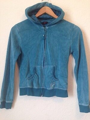 Y.d At Primark Blue Velour Zip Up Hooded Jumper Size 11-12 Years <BC471