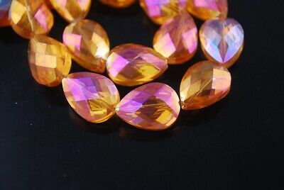 10pcs 18x13mm Teardrop Heart Faceted Crystal Glass Loose Craft Beads Rose Gold