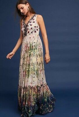 814a1d1a6d8 ANTHROPOLOGIE BHANUNI BY JYOTI Embellished Floral Poly Chiffon Maxi ...