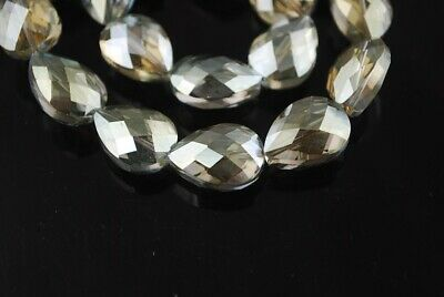 10pcs 18x13mm Teardrop Faceted Crystal Glass Loose Bead Yellowish Green Crafts