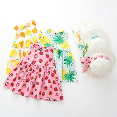 2PC Toddler Baby Kids Girls Summer Fruit Princess Dresses+Hat Casual Outfits Set