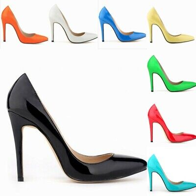 Vogue Patent Leather Sexy Party Ladies Pointy Toe Super High Heels Stilettos Hot