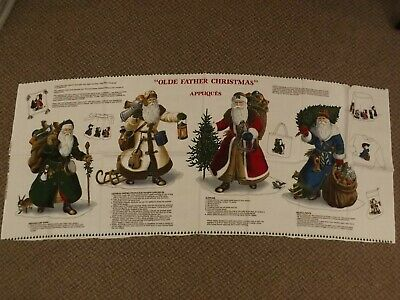 """Vtg VIP Panel with 4 Old Father Christmas No Sew Fabric Appliques Crafts 11-12"""""""