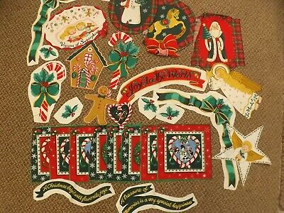 Vtg Lot 30 Christmas Fabric Pieces Appliques No Sew Angels Holly Snowmen & More!
