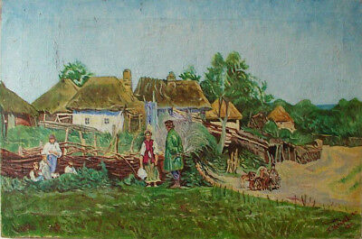 P. Makarevich 1947 Antique oil painting Ukrainian village Signed beautiful work
