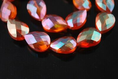 10pcs 24x17mm Teardrop Heart Faceted Crystal Glass Loose Craft Beads Wine Orange