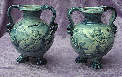 2 Alte Faience Vasen Ulisse Cantagalli Florenz Firence Majolica