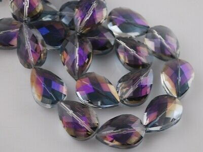 10pcs 24x17mm Teardrop Heart Faceted Crystal Glass Loose Beads Purple Colorized