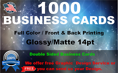 1000 Business Cards | Full Color | Free Shipping | Free Design Service|