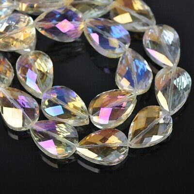 10pcs 24x17mm Faceted Flat Crystal Glass Teardrop Loose Beads Citrine Yellow