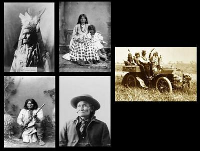 GERONIMO 5 PHOTOS Apache Chief, Native American Indian Leader PHOTO LOT1887,1907