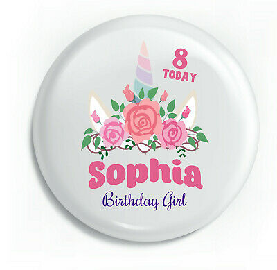Personalised Unicorn Flowers Pretty Happy Birthday Unique Metal Pin Badge