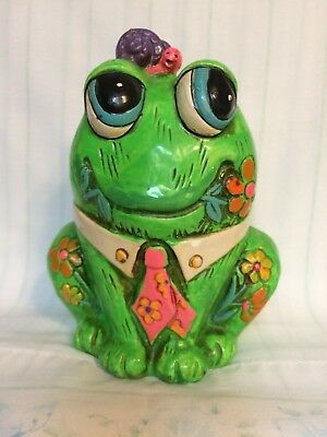 1960`s CHALK WARE BANK Lime Green Frog HOLIDAY FAIR Neon Psychedelic Mod Kitsch