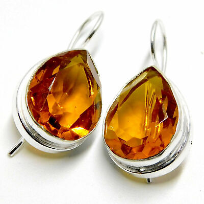 Citrine Quartz 925 Sterling Silver Plated Handmade Jewelry Women Earring 7 Gm
