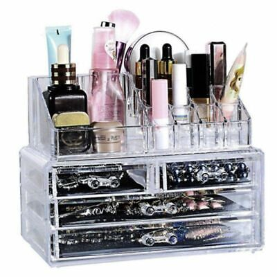Cosmetic 4 Drawer Makeup Organizer Storage Jewellery Box Clear Acrylic Holder 8T