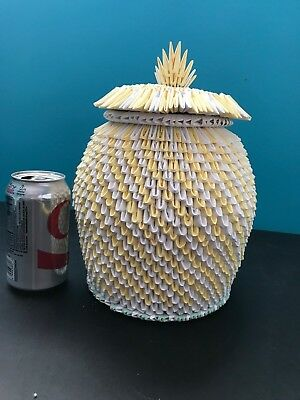 Handmade ORIGAMI Canister JAR with LID